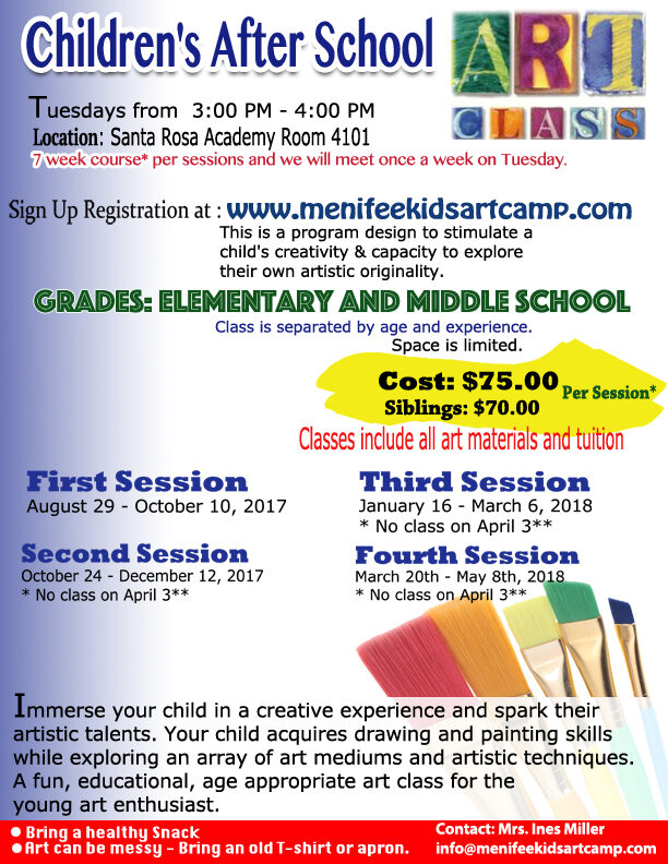 Art classes for Middle school and elementary After School Art class - Ines Miller Art Instructor