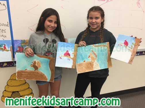 squirrel and red robin bird christmas painting kids art class in Menifee California