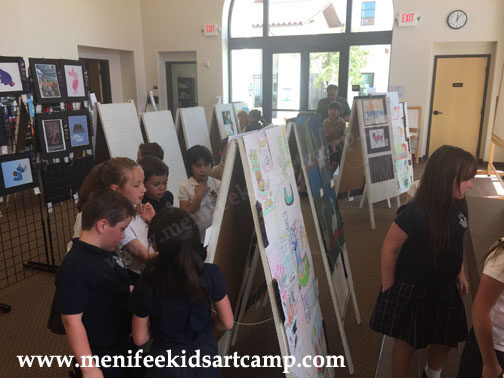 Menifee Kids art camp exhibit kids art at Santa Rosa Academy