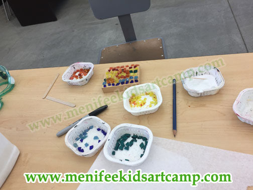 summer camp-  beginners mosaic workshop  for children in Menifee California
