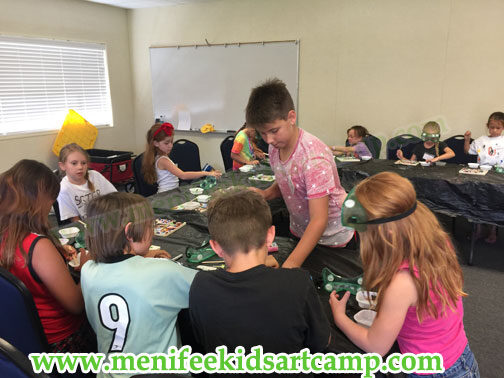 Mosaic picture frame workshop summer art camp in Canyon Lake California