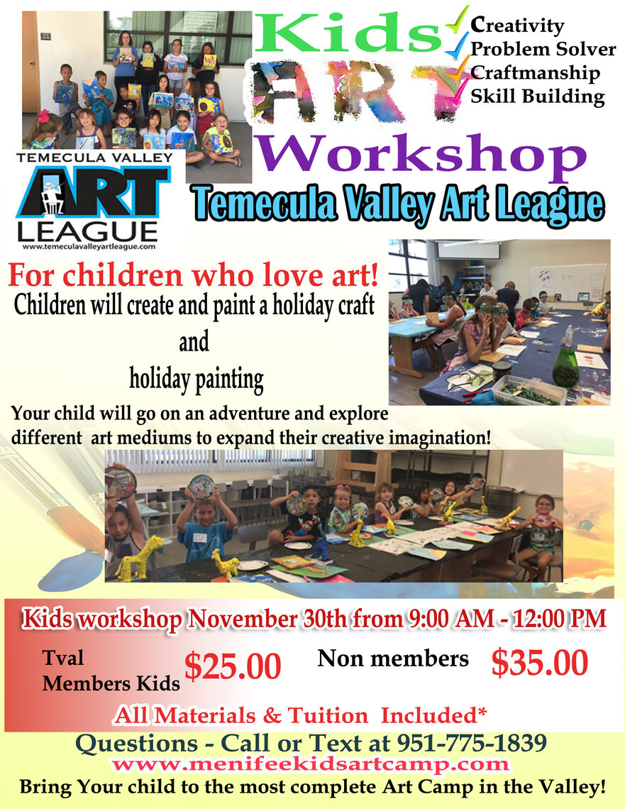 holiday art w craft workshop in Temecula California - Ines Miller art Instructor - Hosted by Temecula Valley Art League